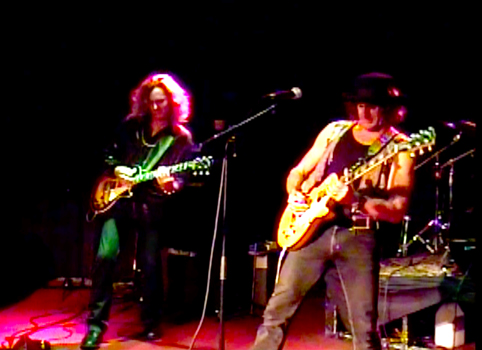 Jeffrey Walsh and Steven Bates playing wailing electric guitars at The Whisky 11-12-13