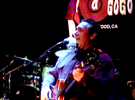 Peter Bates playing bass at the Whisky A Go Go