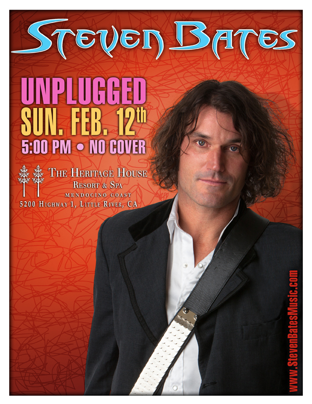 Steven Bates unplugged music poster for 2-12-17
